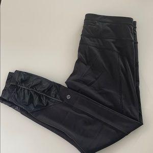 Lululemon cropped black leggings with shirred legs